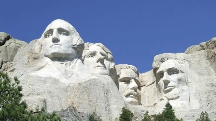 U.S. presidents George Washington, Thomas Jefferson, Theodore Roosevelt and Abraham Lincoln are sculpted on Mount Rushmore National Memorial in the Black Hills region of South Dakota.
