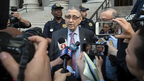 Former New York Assembly Speaker Sheldon Silver speaks to reporters outside federal court, Friday, May 11, 2018, in New York. A jury convicted Silver of public corruption charges Friday, dashing the 74-year-old Democrat's second attempt to avoid years in prison after a decades-long career as one of the most powerful politicians in state government.(AP Photo/Mary Altaffer)