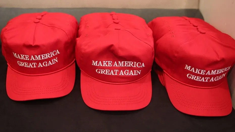 """Make America Great Again"" hats displayed at Trump Tower in New York City, Aug. 20, 2016."