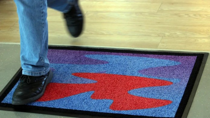 """One iteration of the """"cosmic welcome mat"""" developed by experimental philosopher Jonathon Keats, in consultation with space archaeologist Alice Gorman. The mats are designed to let aliens know they are welcome here on Earth."""