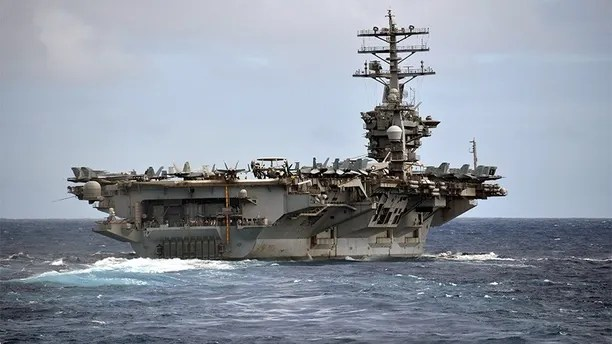 1701201-N-OW182-0014PACIFIC OCEAN (Dec. 1, 2017) The aircraft carrier USS Nimitz (CVN 68) steams in the Pacific Ocean prior to an air power demonstration. The Nimitz Carrier Strike Group is on a regularly scheduled deployment to the Western Pacific. The U.S. Navy has patrolled the Indo-Asia-Pacific region routinely for more than 70 years promoting peace and security. (U.S. Navy photo by Mass Communication Specialist 2nd Class Jacob M. Milham/Released)