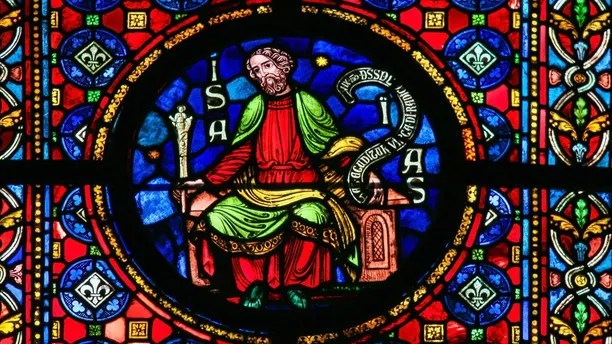Dinant, Belgium - October 16, 2011: Stained glass window depicting the prophet Isaiah in the cathedral of Dinant, Belgium.