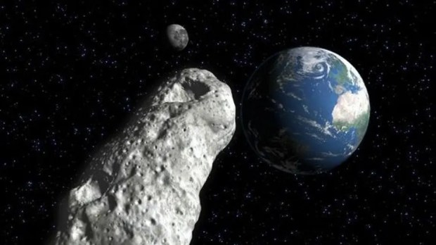 A football-sized asteroid – labeled 2018 GE3 – buzzed by Earth on April 16, 2018.
