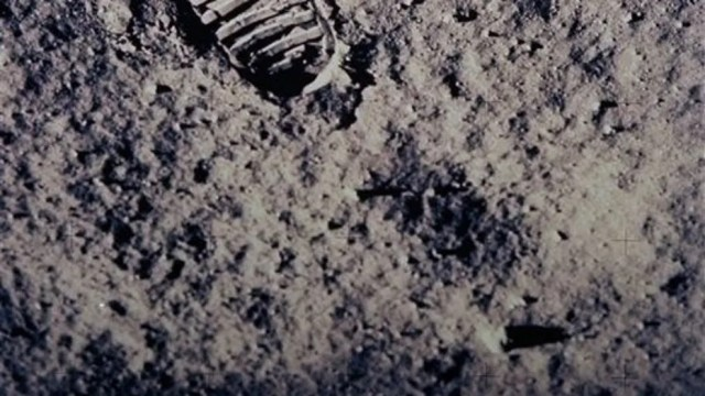 "In this July 20, 1969, photo provided by NASA, a footprint left by one of the astronauts of the Apollo 11 mission is seen in the soft, powdery surface of the moon. Commander Neil Armstrong and Edwin ""Buzz"" Aldrin became the first men to walk on the moon after blastoff from Cape Kennedy, Fla., on July 16, 1969."