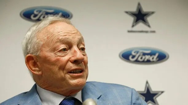 FILE - In this Sept. 25, 2017, file photo, Dallas Cowboys owner Jerry Jones speaks after an NFL football game against the Arizona Cardinals, in Glendale, Ariz. Dallas owner Jerry Jones said the NFL can't leave the impression that it tolerates players disrespecting the flag and that any of his Cowboys making such displays won't play. (AP Photo/Ross D. Franklin, File)