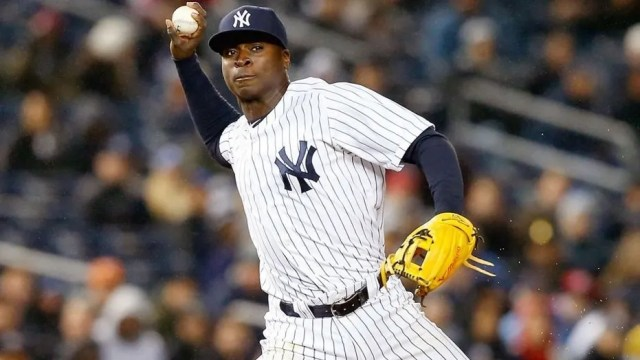 Didi Gregorius of the New York Yankees in action against the Toronto Blue Jays at Yankee Stadium on April 9, 2015.