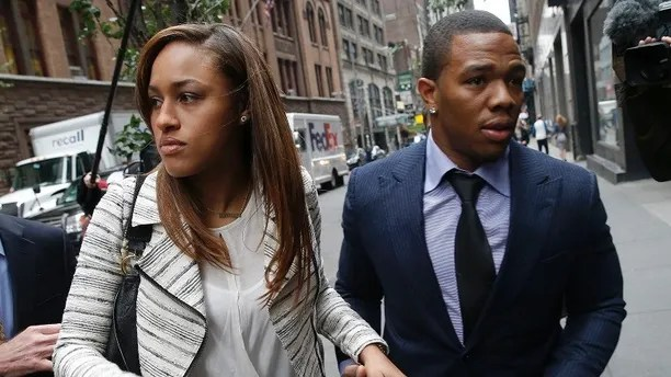 Former Baltimore Ravens NFL running back Ray Rice and his wife Janay arrive for a hearing at a New York City office building November 5, 2014. Rice is making his case on Wednesday to return to the field after the National Football League indefinitely suspended him from the game for claims of domestic violence. Rice, 27, claims that he was punished twice for the same offense, a one-punch knockout of his then-fiancee Janay Palmer during a February altercation at an Atlantic City, New Jersey, casino. REUTERS/Mike Segar (UNITED STATES - Tags: SPORT CRIME LAW FOOTBALL CIVIL UNREST) - GM1EAB51RBS01