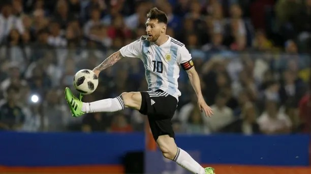 FILE - In this May 29, 2018, file photo, Argentina's Lionel Messi controls the ball during a friendly soccer match between Argentina and Haiti at the Bombonera stadium in Buenos Aires, Argentina. Lionel Messi and Cristiano Ronaldo have split the last 10 FIFA Player of the Year awards, and this is likely their last chance to win a World Cup. (AP Photo/Natacha Pisarenko, File)