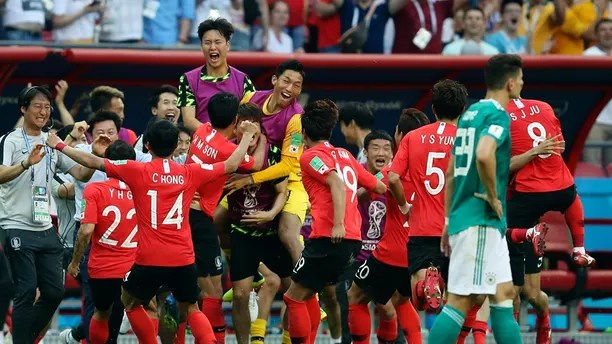 South Korea players celebrate after their teammate Kim Young-gwon scored their side's first goal during the group F match between South Korea and Germany, at the 2018 soccer World Cup in the Kazan Arena in Kazan, Russia, Wednesday, June 27, 2018. (AP Photo/Thanassis Stavrakis)