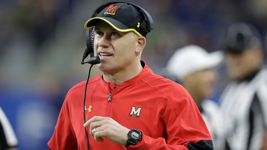 Maryland head coach DJ Durkin is seen during a college football game against Boston College, in Detroit, Dec. 26, 2016.