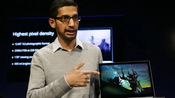 Feb. 21, 2013: Sundar Pichai, Google's senior vice president of Chrome and apps, discusses the Google Chromebook Pixel laptop computer at an announcement in San Francisco.