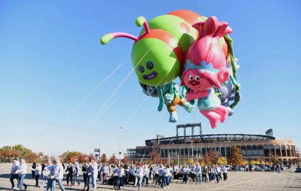 NEW YORK, NY - NOVEMBER 05: DreamWorks' Trolls flies at Macy's Balloonfest in preparation for the 90th Anniversary Macy's Thanksgiving Day Parade at Citi Field on November 5, 2016 in New York City. (Photo by Dave Kotinsky/Getty Images for Macy's Parade)