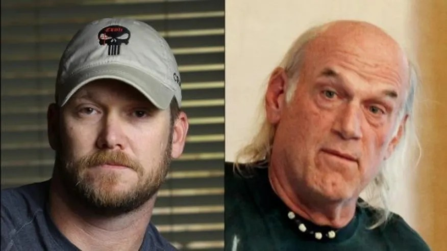 Former Navy SEAL Chris Kyle, left, and former Minnesota governor Jesse Ventura.