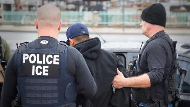 U.S. Immigration and Customs Enforcement (ICE) officers detain a suspect as they conduct a targeted enforcement operation in Los Angeles, California, U.S. on February 7, 2017. Picture taken on February 7, 2017.   Courtesy Charles Reed/U.S. Immigration and Customs Enforcement via REUTERS      ATTENTION EDITORS - THIS IMAGE WAS PROVIDED BY A THIRD PARTY. EDITORIAL USE ONLY. - RTSY4HF