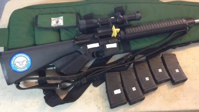 A California 'featureless' rifle with fixed stock, no pistol grip, muzzle brake, maximum 10-round capacity magazines. It has a regular magazine catch. NRA/CMP competition rules were modified in 2017 to accommodate rifles like these from restrictive law states.