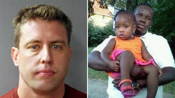 Former St. Louis police officer Jason Stockley (left) was acquitted in the killing of Anthony Lamar Smith (left, with daughter Autumn Smith) in 2011 during a confrontation with police.