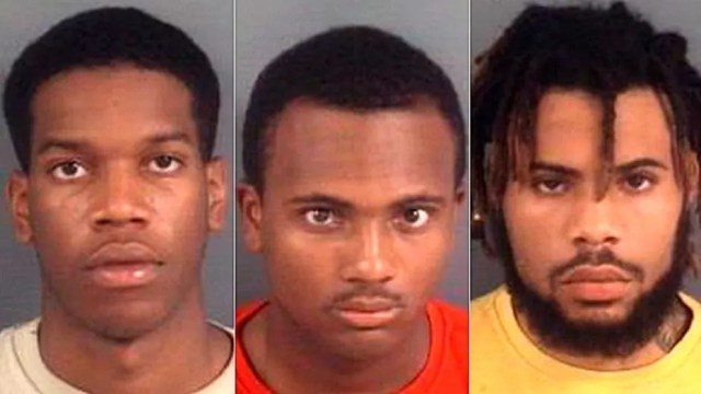 Mug shots for (l. to r.) Ferris Brown, Javier Rashad Johnson and Daivon Tahjai Chambers.