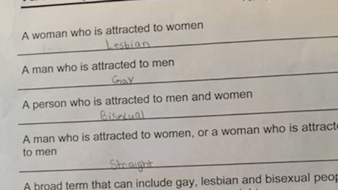 "Photo of the controversial ""sexual identity"" quiz, given to students at Lithonia Middle School."