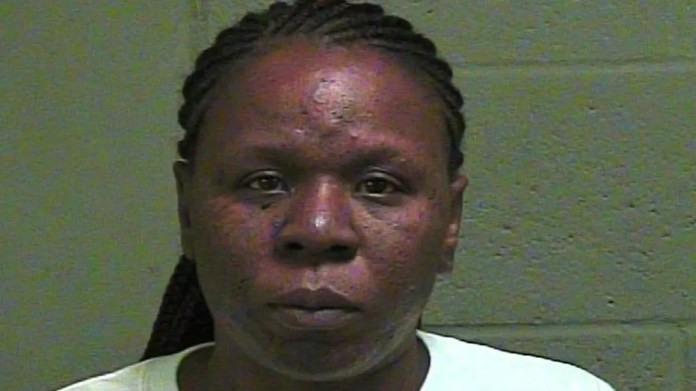 Alenea Bright, 40, allegedly stabbed a man in the back during a fight at a 1-year-old's birthday party.