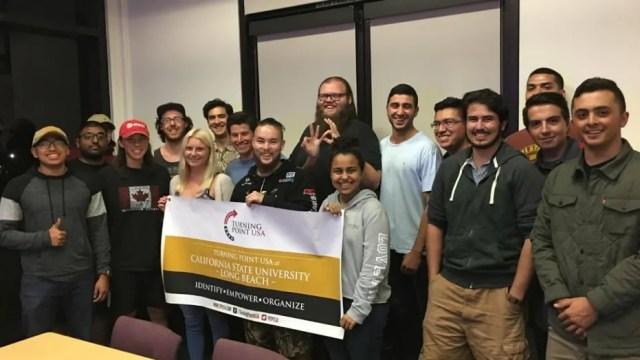 """Members of California State University's Turning Point USA chapter. The student organization was reportedly called a """"white supremacist"""" group by left-leaning campus activists."""