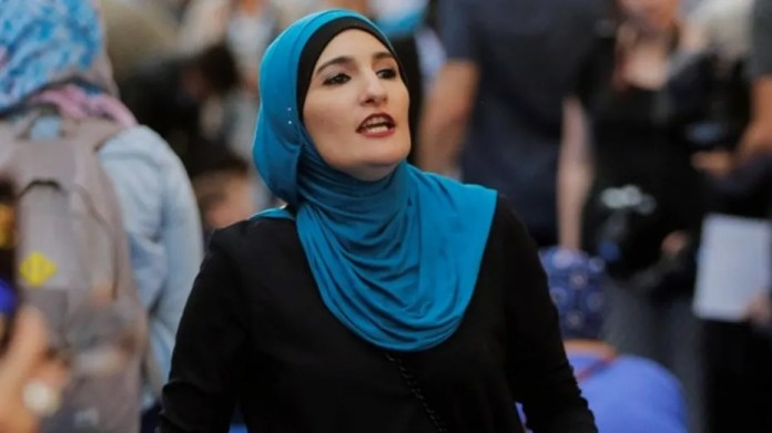 Activist Linda Sarsour takes part in a demonstration outside Trump Tower in New York City, June 1, 2017.  (Reuters)