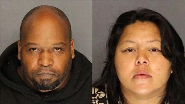 Aaron Weddles, 41, left, and Princess Canez-Walker, 32, have been jailed as a search continues for their missing 20-month-old twins.