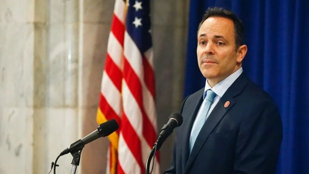 Kentucky Gov. Matt Bevin speaks in the House Chambers of the Kentucky State Capitol, in Frankfort, Ky., Jan. 26, 2016.