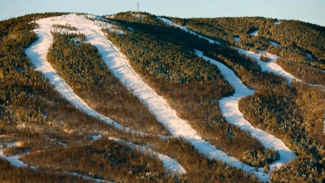 The Shockwave, White Heat, and Obsession trails at Sunday River ski resort in Newry, Maine.