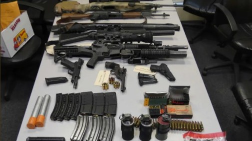 Massachusetts authorities posted a picture on Twitter showing a weapons stockpile discovered at a Boston-area hotel.