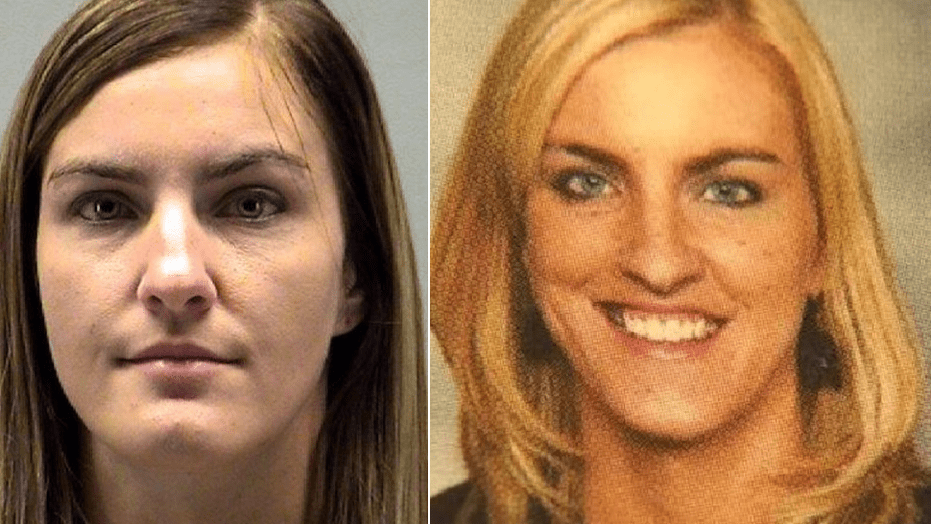 Jessica Langford is seen in her booking photo, left, and a school photo.