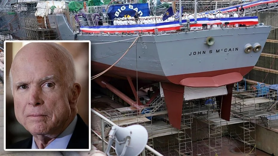The USS John S. McCain is undergoing repairs after a deadly accident last year.