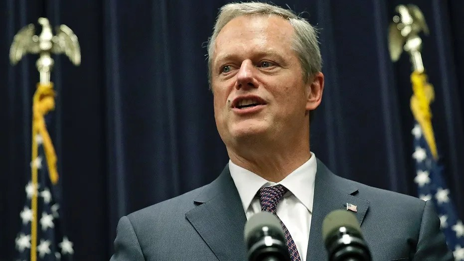 Massachusetts Gov. Charlie Baker addresses a gathering at the Statehouse in Boston, July 27, 2017.