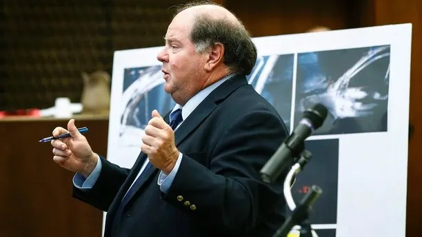 Lead prosecutor John Champion speaks during the retrial of Quinton Tellis in Batesville, Miss., on Wednesday, Sept. 26, 2018. Tellis is charged with burning 19-year-old Jessica Chambers to death in December 2014. Tellis has pleaded not guilty to the murder. (Mark Weber /The Commercial Appeal via AP, Pool)