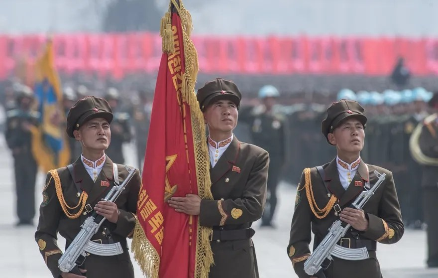 3074208 04/15/2017 Soldiers during a military parade marking the 105th birthday of Kim Il-Sung, the founder of North Korea, in Pyongyang. Iliya Pitalev/Sputnik  via AP