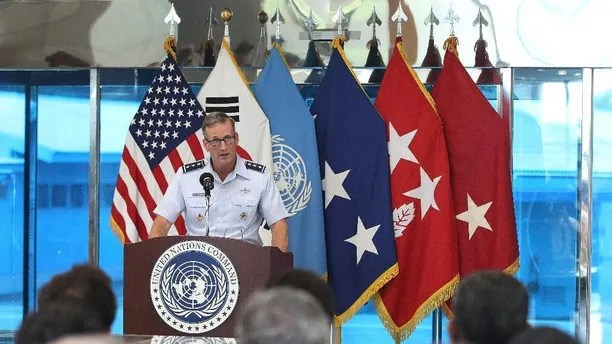 Lt. Gen. Terrence O'Shaughnessy, Deputy Commander of United Nations Command Korea and Deputy Commander of U.S. Forces Korea, speaks during a ceremony commemorating the 62nd anniversary of the Korean War Armistice Agreement that ended the Korean War at the border village of Panmunjom, which has separated the two Koreas since the Korean War, in Paju, South Korea, Monday, July 27, 2015. (AP Photo/Ahn Young-joon, Pool)