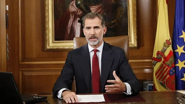"In this image released by the Spanish Royal Palace, Spain's King Felipe VI delivers a speech on television from Zarzuela Palace in Madrid, Tuesday, Oct. 3, 2017. Spain's King said that Catalan authorities have deliberately bent the law with ""irresponsible conduct"" and that the Spanish state needs to ensure constitutional order and the rule of law in Catalonia. (Spain's Royal Palace via AP)"