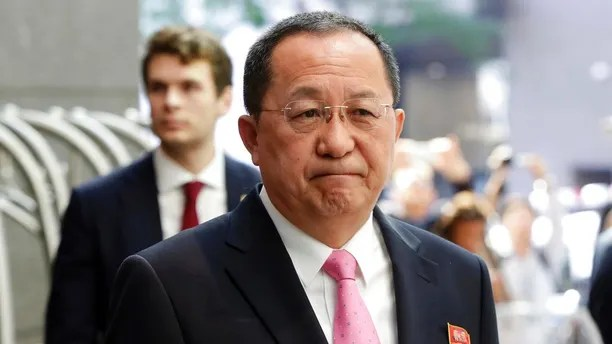 """FILE - In this Sept. 25, 2017 file photo, North Korea's Foreign Minister Ri Yong Ho speaks outside the U.N. Plaza Hotel, in New York. Russian state news agency Tass says North Korea's foreign minister has described his nation's nuclear weapons as a """"sword of justice."""" Tass quoted North Korean Foreign Minister Ri Yong Ho accusing U.S. President Donald Trump of """"setting a fuse of war"""" with his September speech at the United Nations, it was reported on Wednesday, Oct. 11, 2017. (AP Photo/Richard Drew, File)"""