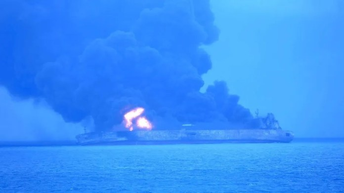 "Panama-registered tanker ""Sanchi"" went ablaze after it collided with a freighter off China's eastern coast late Saturday."
