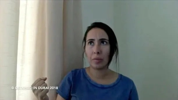This undated image from video provided by Detained in Dubai, a London-based for-hire advocacy group long critical of the United Arab Emirates, shows Sheikha Latifa bint Mohammed Al Maktoum, a daughter of Dubai's ruler, in a 40-minute video in which she says she's planning on fleeing the country, in Dubai, UAE. The former spy Herve Jaubert said he tried to help her flee the country in a cloak-and-dagger escape by sea in March 2018, but was thwarted when commandos intercepted their sailboat in the Arabian Sea. (Detained in Dubai via AP)