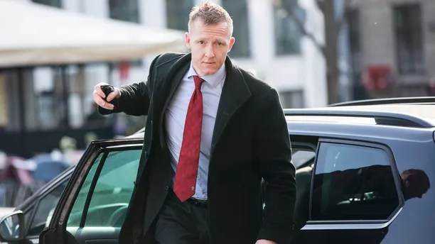 Prosecutor Jakob Buch-Jepsen arrives for the penultimate hearing in the case against Peter Madsen at the Copenhagen City Council in Copenhagen, Denmark Monday, April 23, 2018. Madsen is charged with murdering and dismembering Swedish journalist Kim Wall aboard his homemade submarine. (Nikolai Linares/Pool Photo via AP)