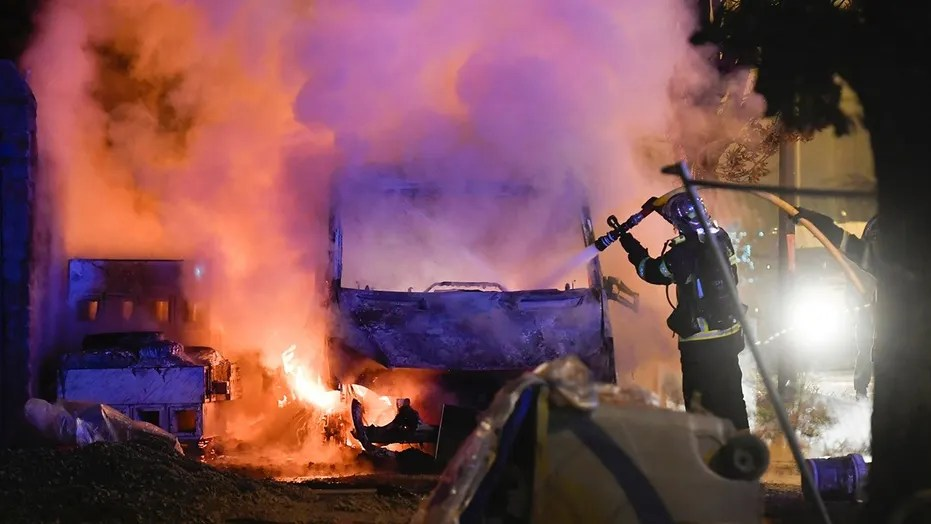 Image result for cars on fire, france, july 2018, photos