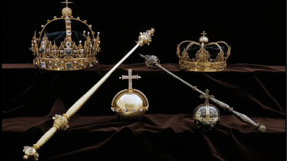 Police say the two crowns and the larger of the two royal orbs in this photo were taken by the thieves.