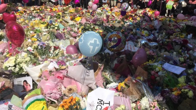 The shooting unfolded more than a year after the terror attack at Manchester arena, which led to tributes seen here.