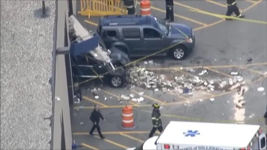 Raw video: Aerials of the aftermath following incident at LynnWay Auto Auction in Billerica