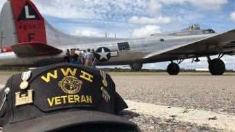 B-17 bomber flies cross country to honor World War Two veterans