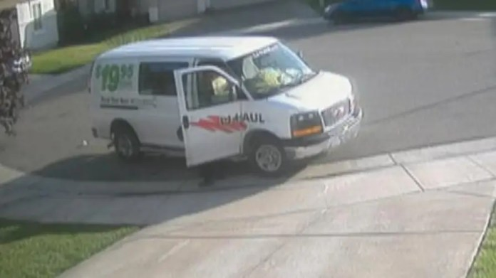 Surveillance footage catches woman in the act.
