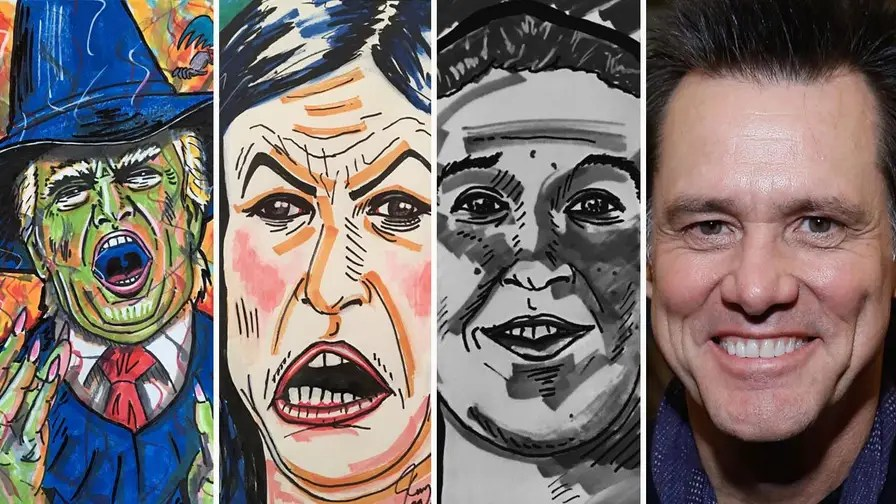 Comedian Jim Carrey has come under fire for his recent paintings of Sarah Sanders, Facebook founder Mark Zuckerberg, and one depicting Trump as the Wicked Witch of the West.