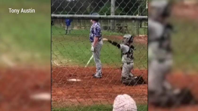 Luke Terry has one arm but that hasn't stopped him from becoming a star catcher on his Tennessee high school baseball team. Watch as he effortlessly handles the field.