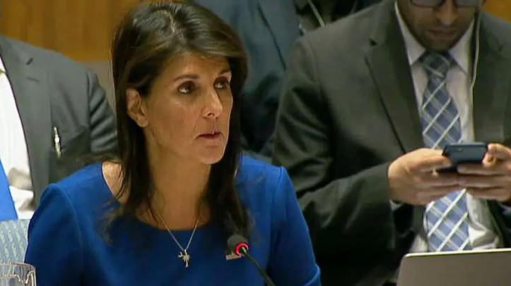 Ambassador Nikki Haley says U.S., France, and U.K. acted to deter chemical weapons after Russia and Syria failed to live up to international commitments.