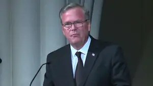 During a eulogy for Barbara Bush, Jeb Bush says his mother taught her family to live a life of purpose and meaning.